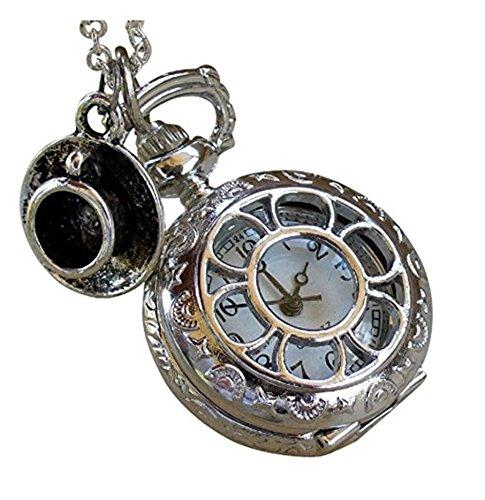 Alice in Wonderland Tea Party Steampunk pocket watch necklace pw1 - Alice Wonderland Baby Costume