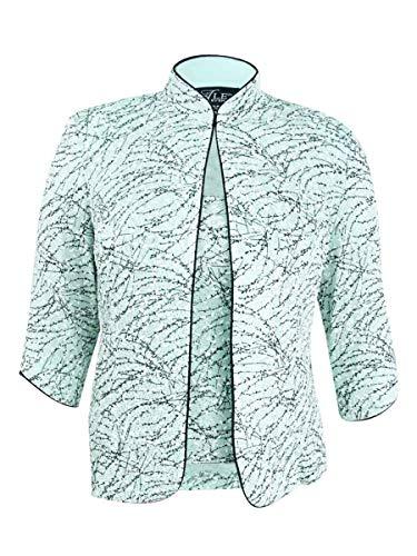 (Alex Evenings Women's Mandarin Neck Twinset Tank Top and Jacket Petite Regular, Fresh Mint, XLP)