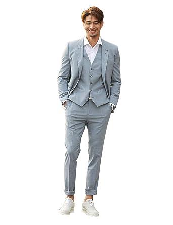 c587623d Newdeve Men's Casual Suits Light Blue 3 Pieces Fashion Set at Amazon ...