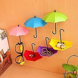 Lucrative shop 3Pcs Colorful Umbrella Wall Hook Key Hair Pin Holder Organizer Decorative