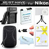 Accessories Bundle Kit For Nikon Coolpix S9900, A900, S9700, S800c S8200 S9300 S9100 S9200 AW130 Digital Camera Includes Extended (1200maH) Replacement Nikon EN-EL12 Battery + AC/DC Charger + Case + More