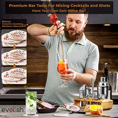 Bar Set Cocktail Shaker Set for Home: 25 Piece Mixology Bartender Kit With Stand | Ideal Gift Bartending Set for an Amazing Drink Mixing Experience | Bar tool set with Recipes & Coasters by Evolish 51nocRtmc9L