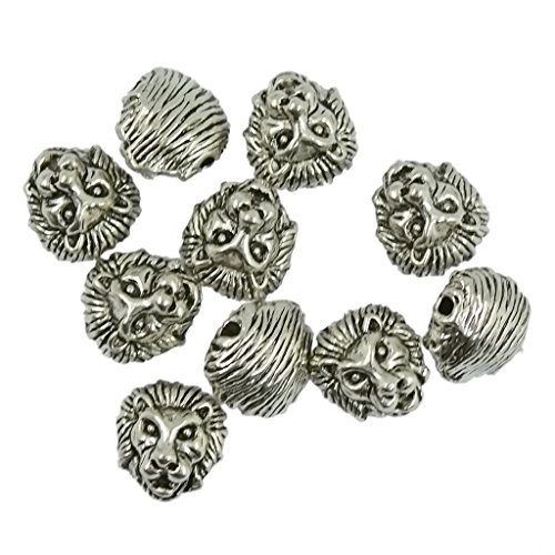 10 Packs of Solid Metal Lion Head Bracelet Necklace Connector Beads-Gold/Silver - Silver, 10 x (10k Gold Beads)