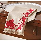Mud Pie Holly Holiday Christmas Kitchen Decor Santa Sleigh Towel