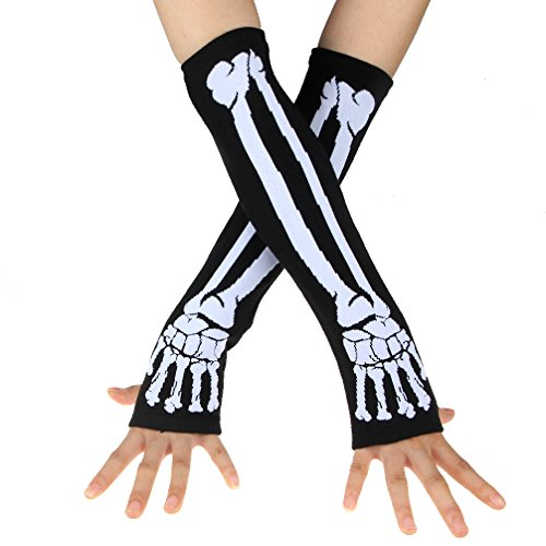 ECOSCO New Black Punk Gothic Dark Rock Skeleton Long Arm Warmer Fingerless Gloves (White)