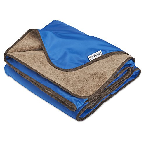 XL Plush Fleece Outdoor Stadium Waterproof and Windproof Picnic Blanket (Blue)