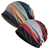 EINSKEY Slouchy Beanie for Men/Women 2-Pack Baggy Skull Cap Winter Knit Ponytail Hat Multipurpose Neck Loop Scarf