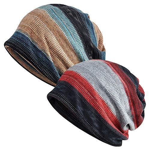 EINSKEY Slouchy Beanie for Men/Women 2-Pack Summer Thin Skull Cap Baggy Oversize Knit Hat