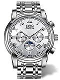BOS Men's Quartz Analog Wrist Watch Chronograph Stainless Steel Band White 8006
