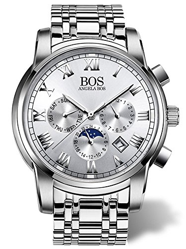 BOS Men's Quartz Analog Wrist Watch Chronograph Stainless Steel Band 8008 by Angela BOS