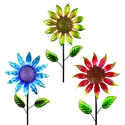 """Exhart Shimmering Garden Flower Stake, Lacquered Metal, 3pc Asst, Red, Yellow, Blue, 18"""" Wide by 60"""" High"""