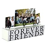 Malden International Designs Tabletop Photo Clips Wood Block, Holds 3 Pictures, Forever Friends, Distressed White