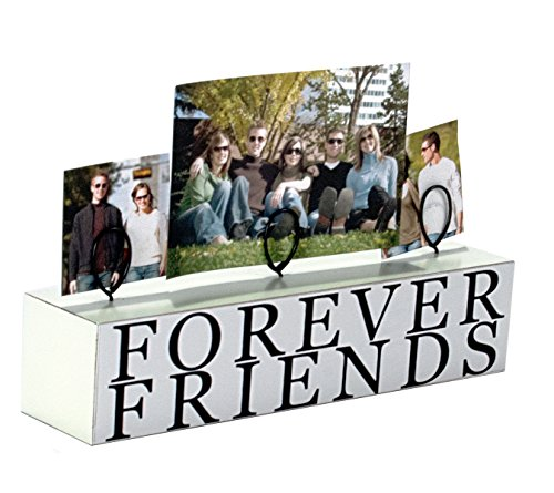 Malden International Designs Tabletop Photo Clips Wood Block Forever Friends Picture Holder, 3 Option, White