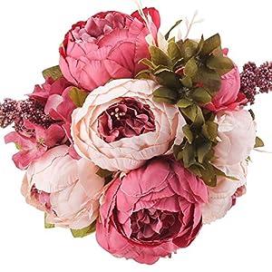 Silk Flower Arrangements Flojery Silk Peony Bouquet Vintage Artificial Peonies Flower for Home Wedding Party Decor (1pcs, Dark Pink)