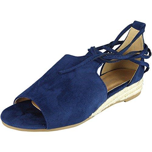 Heel Blue Peeptoe Womens 3 8 Espadrilles Low Comfy Ladies Wedges Up Shoes Wegde Size Tie 8qS416AS