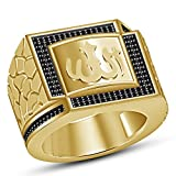 TVS-JEWELS Men's Special Black Cubic Zirconia 14k Gold Plated Sterling Silver ''Allah'' Muslim Ring (10)