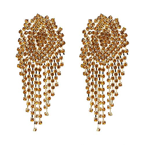 Crystal Beads Earrings Women Ethnic Jewelry Handmade Elegant Big Long Beads Earrings Yellow ()