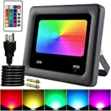 Remon 25W RGB LED Flood Lights, IP66 Waterproof Security Light Color Changing Spotlight with Remote Control, 16 Colors 4 Modes Wall Light with US 3-Plug for Outdoor Decorative Garden Stage Light (Color: Black, Tamaño: 25W - RGB)