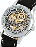 Gute Gorgeous Pattern Mechanical Watch See Through Skeleton Gold Hands Auto Self-wind Wristwatch Unisex