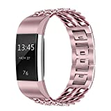 PUGO TOP Fitbit Charge 2 Band, Stainless Steel Metal Chain Band for Fitbit Charge 2, Rose Gold