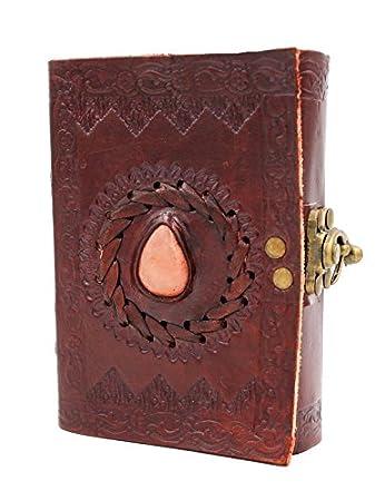 Chic & Zen - diario, agenda, blocchetto per appunti, Vera Pelle, Vintage, chiusura metallo, pietra labradorite, 9 cm x 13 cm , carta premium