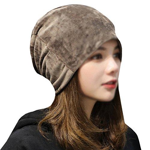 LABANCA Women Fashion Leisure Winter Warm Hat Velvet Soft Beanie for Outdoors Khaki