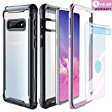 FITFORT Samsung Galaxy S10 Case Full Body Rugged Heavy Duty Clear Bumper Case with Free Screen Protector, Shock Drop Proof Impact Resist Extreme Durable Protective Cover for Galaxy S10 (Pink)