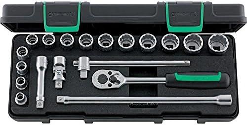 Stahlwille 96024132 Steckschlüsselgarnitur 19-teilig im robusten, stapelbaren ABS-Kunststoffkasten