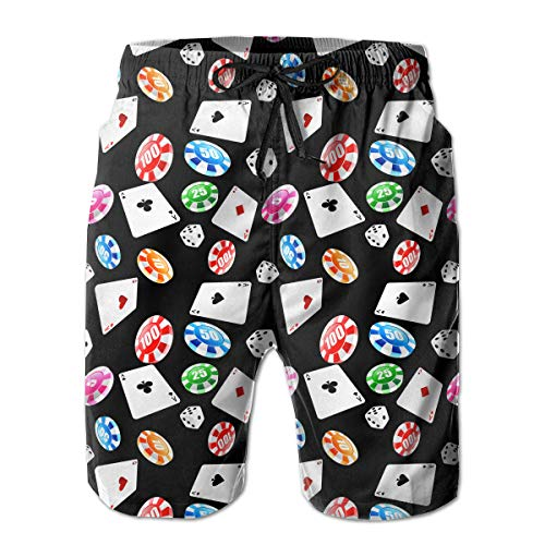 FUNSTYEET Poker and Dice Men's Board Shorts Swim Trunks Great for Beach & Pool with Mesh Lining and Side Pocket White