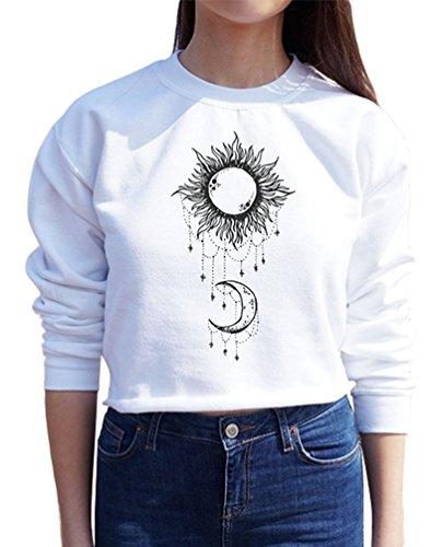 ZKOO Otoño Sudaderas Mujeres Manga Larga Cuello Redondo Luna Impresas Sweatshirt Pulóver Suelto Blusa Tops Blanco