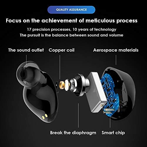 Chennong AYDワイヤレスステレオヘッドフォンTWSブルートゥース充電ケース付きヘッドセット内蔵マイクプレミアムサウンド付きベースランニングスポーツ