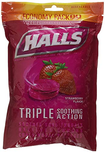 - Halls Cough Drops Suppressant Oral Anesthetic - Strawberry 80 Count Menthol (2 Pack)