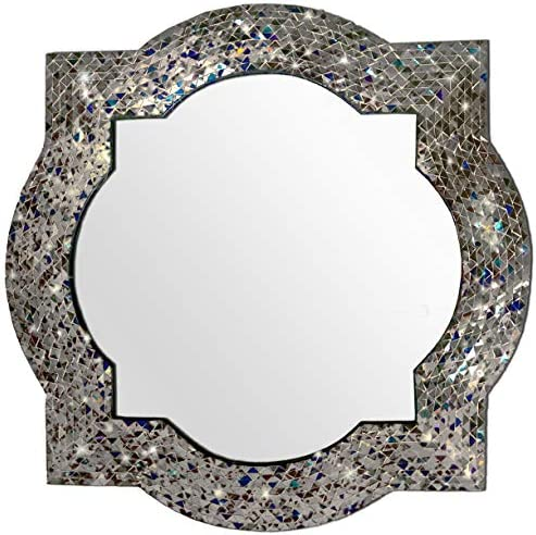 DecorShore Mission Style Quatrefoil Mirror, Andalusian Lindaraja Designer Mosaic Glass Framed Wall Mirror, 24 x 24 Colorful Wall Mirror with Silver Glass Mosaic Quatrefoil Frame Multi Silver