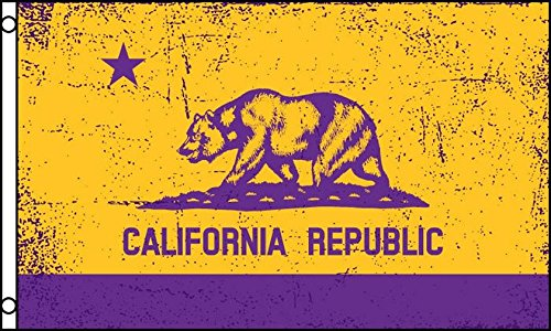 CALIFORNIA PURPLE AND GOLD FLAG 3' x 5' - CALIFORNIAN REPUBL