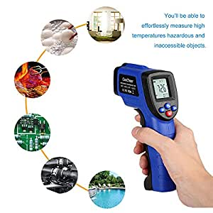 Fanala Non-contact Digital Laser IR Infrared Thermometer Temperature Tool-Instant-read Handheld/battery Included Emissivity Adjustable -50℃~550℃/-58°f ~1022°f (Size3, Blue1)