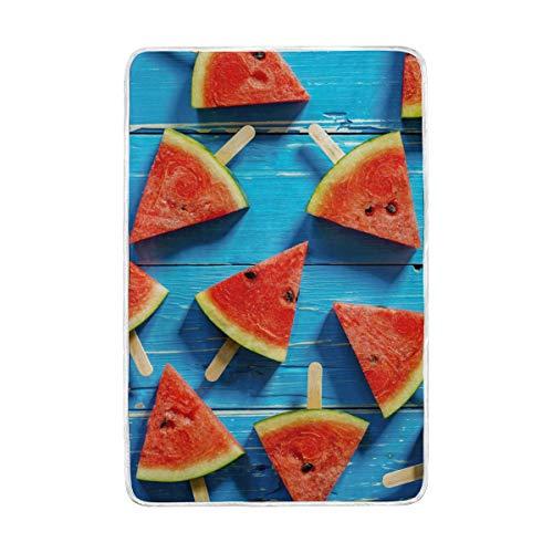 CPYang Watermelon Slice Bleu Bois Couvre-lit Doux et Chaud en Microfibre Lit canapé couvertures pour Adulte Filles garçons Enfants 152 x 229 cm