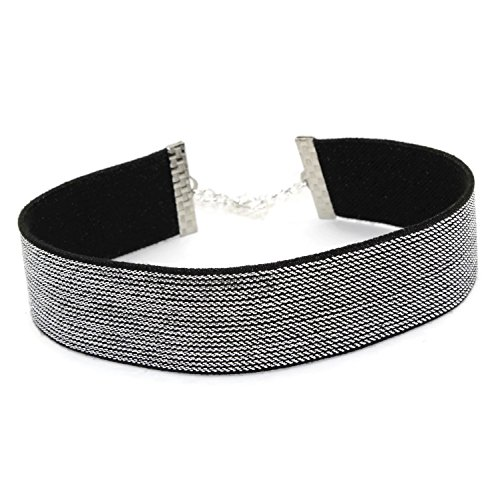 [Arthlin Silver Metallic Choker, Elastic Fabric Material, Glamorous and Sparkly, Made in USA] (Fashion Bloggers Halloween Costumes)