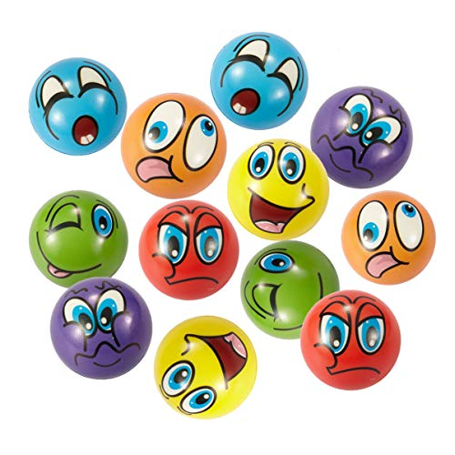 Funny Stress Balls (NOBBEE Emoji Stress Ball 12 Pcs Party Favor Balls (2.5 Inch) Squeeze Toy to Release Stress (6)
