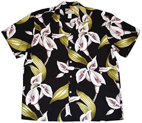 Paradise Found Men's Calla Lily Tom Sellect Magnum PI Hawaiian Shirt, Black, L