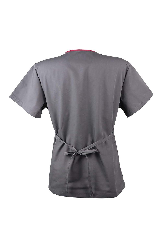 JONATHAN UNIFORM Unisexo Camisas M/édico Respirable con Cuello en V TRS Camisa de Uniforme de Hospital Suave Scrub Top