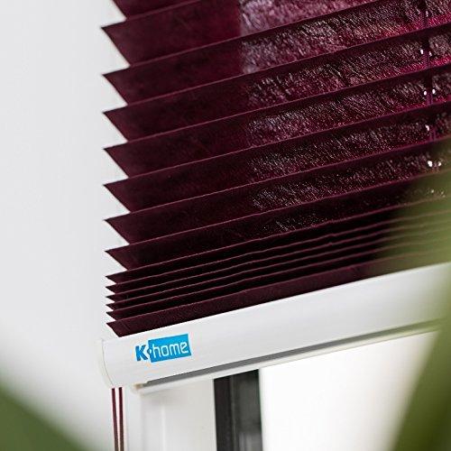 K-home Klemmfix-Plissee  80 x x x 210 cm (B x L) Grau Lichtschutz +++ Moderne Crushed Optik +++ B077XDQMCJ Plissees 16acba
