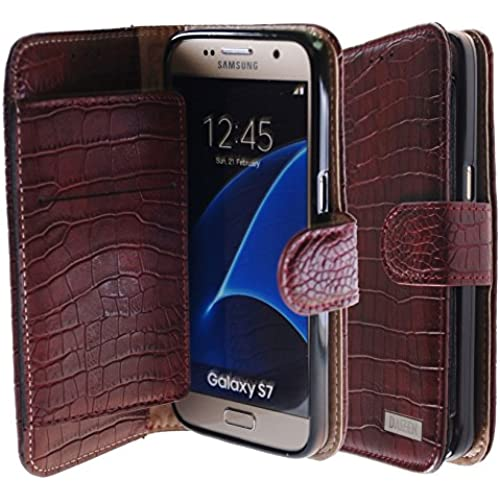 [Vintage Wine] Bi-Fold Flip Cover [Book Wallet] Leather Case [6 Card Slot] Cover For Galaxy S7 Sales
