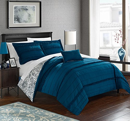 Chic Home 4 Piece Eliza Pleated and Ruffled Reversible Paisely Floral Print Queen Duvet Cover Set Navy Shams and Decorative Pillows Included (Paisely Bedding)