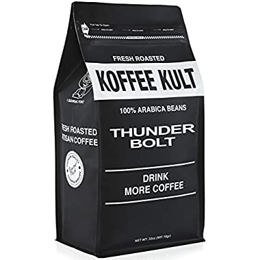 Thunder Bolt Whole Bean Coffee 2 pound Colombian - Ideal for French Press, Drip Coffee from Koffee Kult - Packaging May Vary