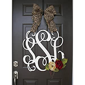 Custom Monogram Letter Wooden Door Hanger with flowers Wreath 1