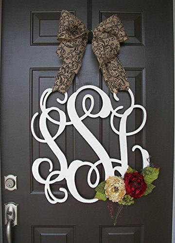 Custom-Monogram-Letter-Wooden-Door-Hanger-with-flowers-Wreath