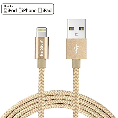 [Apple MFi Certified] EnGive Nylon Braided 8Pin 6.6Ft/2M Lightning to USB Data Sync Charger Cable for iPhone...