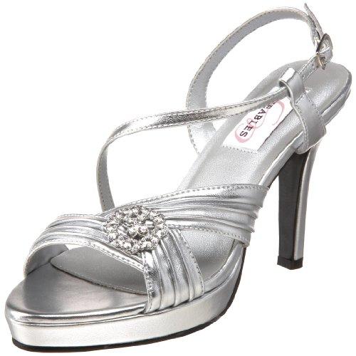 Dyeables Women's Jocelyn Platform Sandal, Silver, 7 M - Womens Jocelyn Platform Sandal