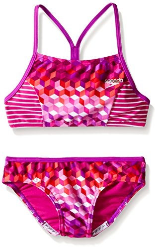 Speedo Little Girls' Illusion Cubes Splice Camikini 2 Piece, Electric Purple, 14 ()