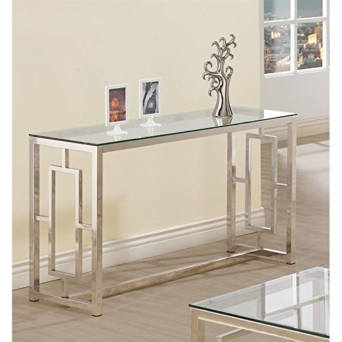 Coaster Cont Gls Top Sofa Table Satin Nickel